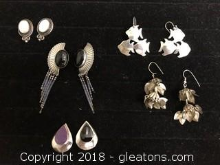 Lot Of Silver Earring Pairs