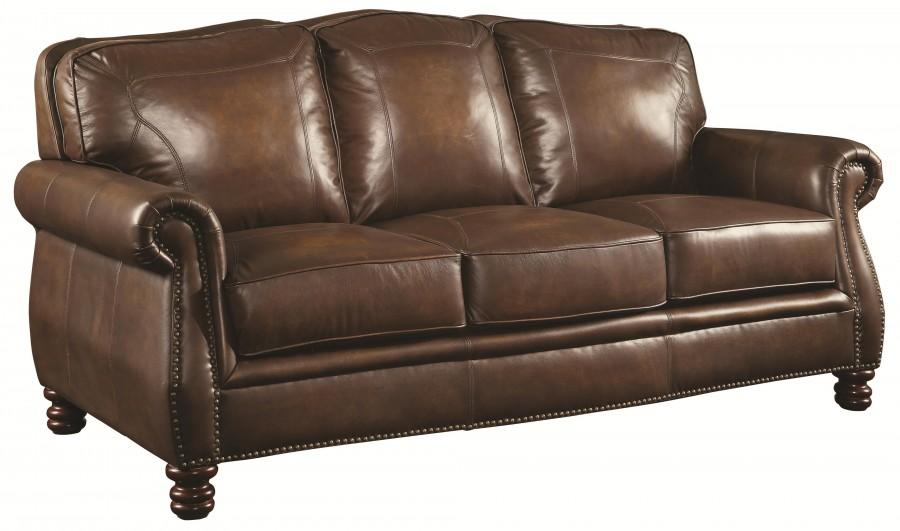 Beautiful Top Of The Line NEW Top Grain Leather Sofa   Brass Nail Heads ...