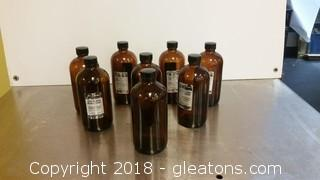 Lot Of 8 Amber Bottles- 1602 7 With Labels+Top W/Out Label + Top
