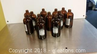Lot Of 12- Amber 1602 Bottles- No Tops- All Labels