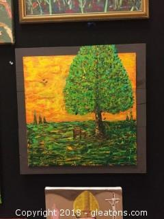 Local Artist Wood Framed Landscape Of Solitary Chair By A Big Tree