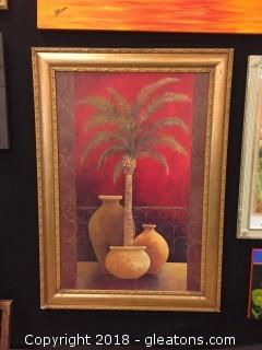 Large Gold Framed Canvas Of Palm Tree In Planter