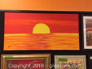 Local Artist Canvas Beautiful Red/Orange/Yellow Sunset