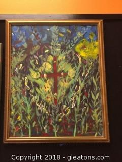 Local Artist Gold Framed Painting Of a Cross Surround By Flowers