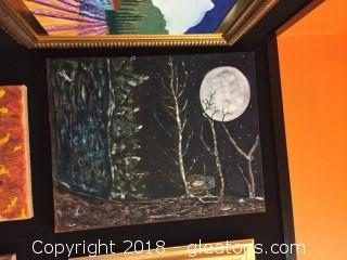 Local Artist Canvas Painting Of Night Time Forest Scape Of Dilin Tree