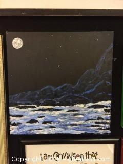 Local Artist Canvas Moon Light Seascape Water Over Rocks