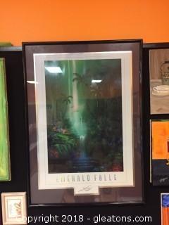 Print David Miller's Emerald Falls Large Signed Print In Black Frame