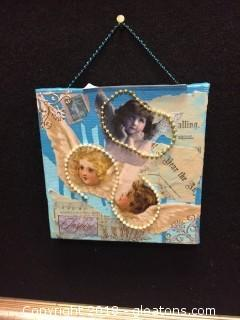 "Local Artist ""Mixed Media"" Canvas Painting W/Decoupage And Beads"