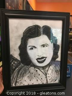 "Local Artist ""Sweet Dreams"" Original Charcoal W/Acrylic Crayon Lovezy Charcoal Portrait"