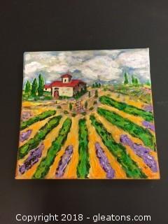 "Local Artist Acrylic  Canvas ""Villa Venezia"" Orig. Acrylic On Canvas Of Lovely Italian Villa"