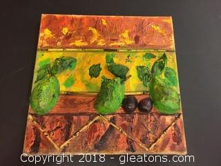 "Local Artist ""3 Pears"" Acrylic/Mixed Media Burlap Wrapped Canvas"