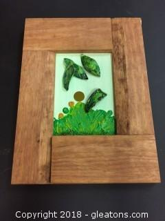"Local Artist 5x7 ""Green Light"" Acrylic/Mixed Media Hard Boilt Wood Frame Mounted"