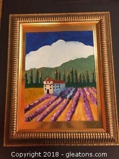 """Local Artist 12x16 """"The Farmhouse Italy"""" Org. Acrylic On Canvas (1st Acrylic) Big Gold Frame"""