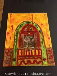 "Local Artist 16x20 ""Many's Sacrifice"" Org. Acrylic W/Mixed Media In Yellows/Red/Green"