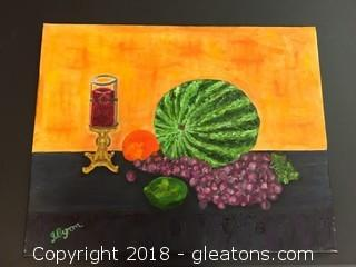 "Local Artist 16x20 ""Watermelon W/Candle Still Life"" Org. Oil On Canvas Fruit Still Life"