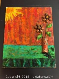 "Local Artist 16x20 ""Copper Daisy"" Org. Acrylic W/Mixed Media"