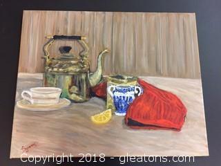 "Local Artist 16x20 ""Tea Time: Org. Oil Still Life Lovely Tea Setting Still Life"