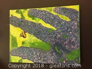 Local Artist 11x14 Painted Canvas Butterfly Bush Mostly Greens/Purple/ Make Up This Painting