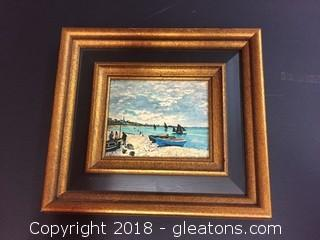 9x8 Gold Framed Print Lovely Seascape On Canvas Fine Art Production