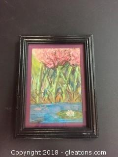 "Local Artist 5x7 Pastel ""Tulips Crossing"" Org. Pastel In Black Distressed Frame"