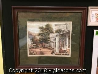 32x28 Wood Frame Lovely Country Town Scene Green matt