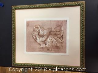 18x20 Green/Gold/Frame Raphael Print Maquina Con Bimbo Raphael Print Wall Decor