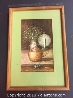 8x11 Framed Print Vintage Print Capper Kette W/ Flowers And Candle