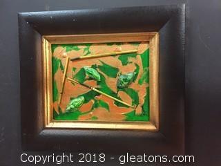 "Local Artist 8x10 Black Framed ""3 Elements"" Acrylic W/Mixed Media"