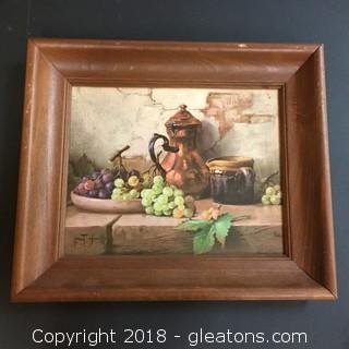 13x11 Canvas Print Framed Copper Kettle W/Tray Of Grapes Vintage Canvas Print
