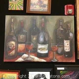 36x24 Large Wrapped Canvas Photo Of Wine Bottles/Glasses On Large Wrapped Canvas