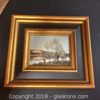 9x8 Gold Framed Repro Fine Art Reproduction Lake Scene