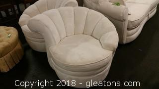 1990's Schnadis Club Chair- Super Comfy- Even Swivels- Cream Colored- Elegant