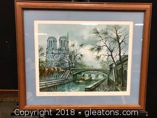 Paris Notre Dame (D) Custom Frame And Matted