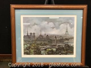 Paris Panoramic View Custom Frame And Matted