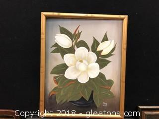 "Original Oil By Dina Haltom ""Still Life Magnolia"