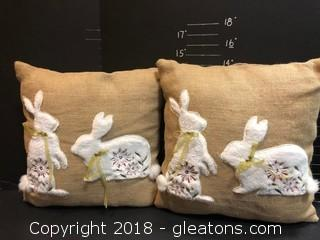 Burlap Bunny Pillows 2, 12""