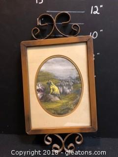 Vintage European Wall Decor Shephard Scene 11""