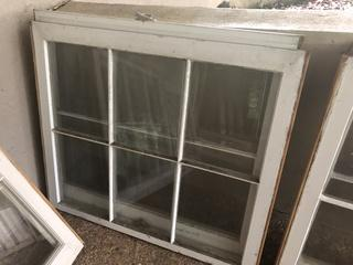 Two 6 Pane Windows - Solid Wood in Excellent Condition