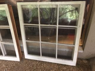 Two 9 Pane Windows - Solid Wood in Excellent Condition