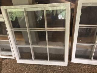 Two 9 Pane Windows- Solid Wood in Excellent Condition