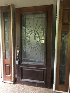 Beautiful Wood Stain Glass Door - Great Condition