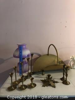 Brass Lot with Oil Lamp