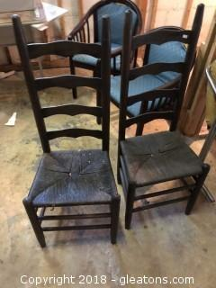 Antique Pair of Ladder Back Cane Chairs