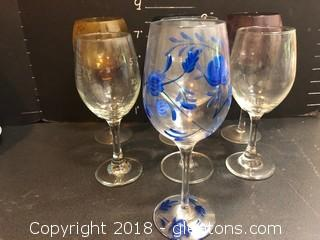 Lot Of 7 Wine Glasses