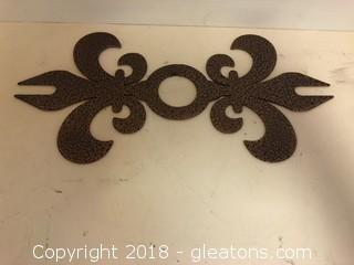 "Fluer De Lis Wall Decor 9"" Metal"