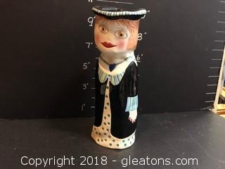 "Retired Ganz ladies Series Susan Paley Vase Bella Casa ""Francais"" Hand Painted Ceramic 9.75"""