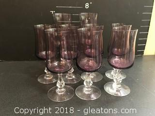 Collection Of Purple Wine Glasses 9 Glasses