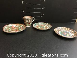 Antique Set Of Tea Cups Authentic Chinese Varied