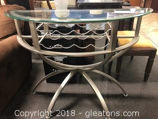 Modern Half Moon Table With Wine Bottle Holder Insert