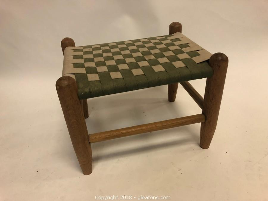 Vintage Cloth Woven Stool Or Childu0027s Bench